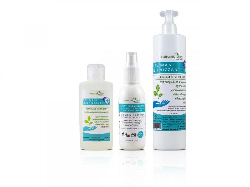 Natura OggiOfferta 3 pezzi Gel Mani Igienizzante e Spray Superfici Igienizz